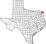 Map of Texas highlighting Bowie County.svg