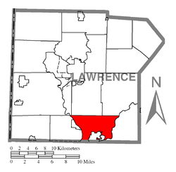 Location of Wayne Township in Lawrence County