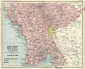 Death of Subhas Chandra Bose - Map of Central Burma showing the route taken by Subhas Chandra Bose and his Indian National Army (INA) group of 500 from Rangoon to Moulmein. The group traveled in a Japanese military convoy until they reached the river Sittang. After crossing the river, they walked the remaining 80 miles. At Moulmein, Bose, his party, and another INA group of 500, boarded Japanese trains on the Death Railway (which had been constructed earlier by British, Australian, and Dutch prisoners of war) to arrive in Bangkok in the first week of May 1945.