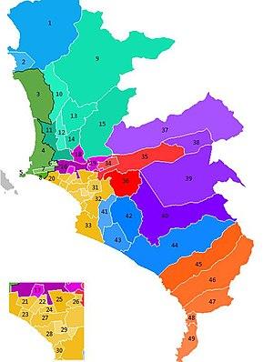 Conurbation - Image: Mapa Lima Metropolitana Distritos