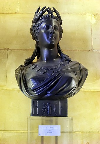 Sculpture of Marianne, a common national personification of the French Republic MariannedeTheodoreDoriot.JPG