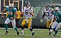 Mark Sanchez under pressure Jets-Dolphin game, Nov 2009 - 082.jpg