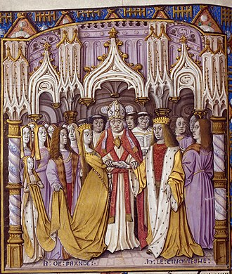 Catherine of Valois - Marriage of King Henry V of England and Catherine of Valois. Illumination, Jean Chartier, Chronicle of Charles VII, av. 1494, British Library, Royal E.V., f. 9v.