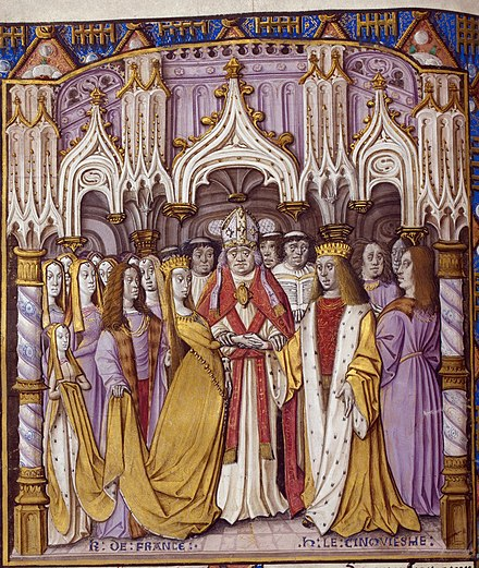 Late 15th-century depiction of Henry's marriage to Catherine of Valois. British Library, London. Marriage of henry and Catherine.jpg