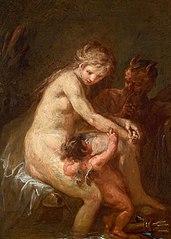Nymphe und Faun mit Amor