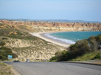 Maslin Beach, South Australia - Maslin Beach recreation reserve, viewed from the north, from the outskirts of the town of the same name
