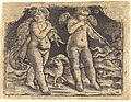Maso Finiguerra, Cupid carrying a fowl accompanied by a dog, and another cupid playing a trumpet, c. 1450, NGA 11595.jpg