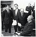 Massachusetts Senator Edward Kennedy, Governor Endicott Peabody, unidentified man, and Mayor John F. Collins (10290505454).jpg
