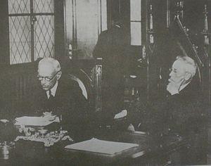 Ernesto Bosch - Ernesto Bosch (left) and fellow UBA Law School alumnus José Nicolás Matienzo confer in the Law School auditorium in 1930.