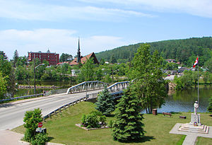 Mattawa, Ontario - 2006 view from downtown Mattawa with Highway 533 and the Mattawa River.