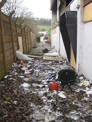 Athletic Ground (Scarborough) - Rubbish littering the boarded up and deserted stadium