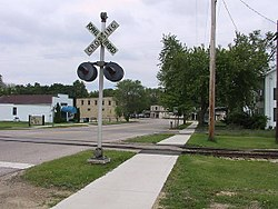 Downtown McFarland with its old railroad.