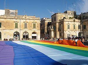 Peace flag - Large peace flag in Lecce, 14 November 2009