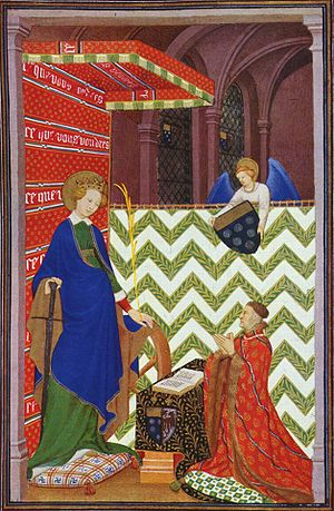 Boucicaut Master - Heures de Maréchal de Boucicaut (Hours), Scene: The Marshal of Boucicaut praying to St. Catherine