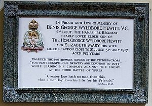 Dennis George Wyldbore Hewitt - Memorial plaque in All Saints' Church, Hursley