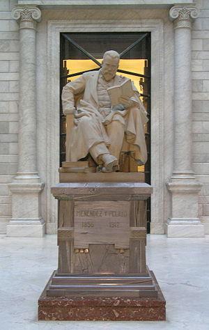 Statue of Marcelino Menéndez y Pelayo in the l...