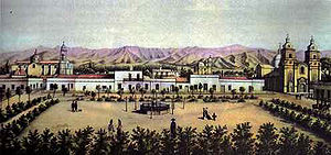 Mendoza, Argentina - Mendoza Area Fundacional, Antigua Plaza Principal and cabildo, lithograph by A. Goering, 1858 (i.e. prior to the devastating 1861 earthquake).