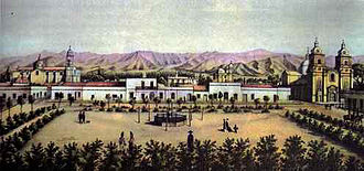 Mendoza Province - View of the Cabildo in the city of Mendoza, prior to the great quake of 1861.