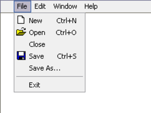Menu (computing) - A drop-down menu of file operations in a Microsoft Windows program.