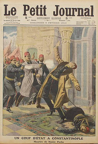 1913 Ottoman coup d'état - The front page of the Le Petit Journal magazine in February 1913 depicting the assassination of Minister of War Nazım Pasha during the coup.