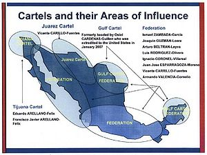 Mérida Initiative - Drug cartels and their areas of influence.