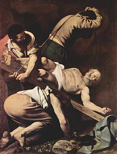 La crucifixión de San Pedro 1610, óleo sobre lienzo, 230 x 175 cm, pared lateral izquierda de la capilla Cerasi, Santa María del Popolo, Roma