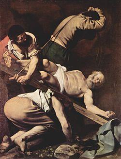 Καραβάτζιο (1571-1610) Η Σταύρωση του Αγίου Πέτρου, 230x175 εκ., 1601, Σάντα Μαρία ντελ Πόπολο, Ρώμη.