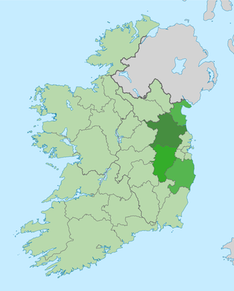 Mid-East Region, Ireland - The Mid-East Region of Ireland with each constituent county highlighted.