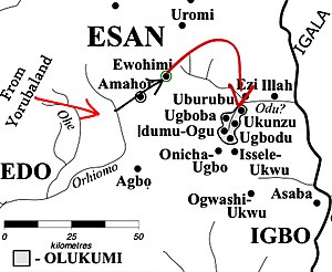 Olukumi people - Migration pattern of the Olukumi