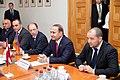 Ministru prezidents Valdis Dombrovskis tiekas ar Armēnijas parlamenta spīkeru Oviku Abraamjanu (Hovik Abrahamyan) (8955552387).jpg