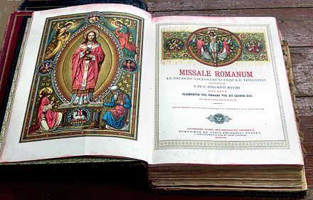 An illustrated 1911 Roman Missal reprint from its 1884 edition Missale Romanum Pustet.jpg