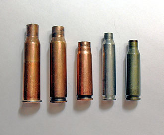 5.56×45mm NATO - Service rifle cartridge cases: (Left to right) 7.62×54mmR, 7.62×51mm NATO, 7.62×39mm, 5.56×45mm NATO, 5.45×39mm.