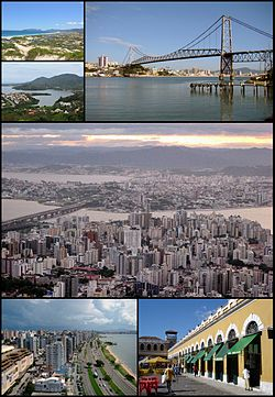 The City of Florianópolis. Top upper left: Joaquina Beach, Top lower left: Conceição Lagoon, Top right: Hercílio Luz Bridge, Middle: a panoramic view of Centro and Estreito area, Bottom left: beira Mar Avenue, Bottom right: Florianópolis Public Market