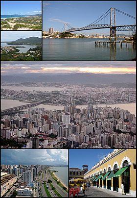 Do topo, em sentido horário: Praia da Joaquina e lagoa da Conceição; Ponte Hercílio Luz; panorama da região central; Mercado Público no centro histórico e vista da Avenida Beira Mar.