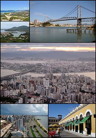Florianópolis - The City of Florianópolis. Top upper left: Joaquina Beach, Top lower left: Conceição Lagoon, Top right: Hercílio Luz Bridge, Middle: a panoramic view of Centro and Estreito area, Bottom left: beira Mar Avenue, Bottom right: Florianópolis Public Market
