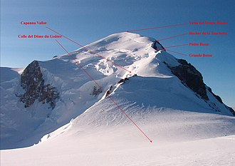 Goûter Route - Summit of the Mont Blanc seen from the Dôme du Goûter
