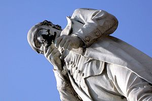 Lazzaro Spallanzani - The statue to Spallanzani in Scandiano has him examining a frog through a magnifying glass.