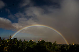 Moonbow - Lunar rainbow over Kihei, Maui, Hawaii, US