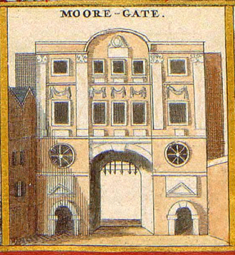 Moorgate - An old illustration of the gate circa 1650