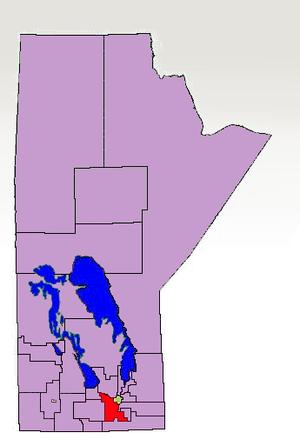 Morris (electoral district) - The 1998-2011 boundaries of the Morris electoral district highlighted in red