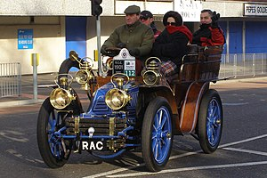 Royal Automobile Club - This 1901 Mors 10 H.P. rear-entrance tonneau owned by the RAC is a regular contender at the London to Brighton veteran car run; here at Crawley in 2006