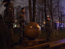 Russian police officers on patrol during a meeting of demonstrators Image: Lvova Anastasiya.