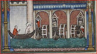 Ship mill - Ship mills under a bridge in Paris in the 1310s.