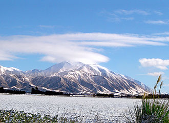 New Zealand State Highway 77 - Much of State Highway 77 is dominated by the skyline of the Southern Alps and Canterbury foothills. Mount Hutt is especially noticeable from SH 77