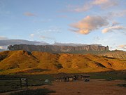 Monte Roraima, a tepui in Canaima National Park in southeastern Venezuela. The park lies atop the Guiana Shield; its Precambrian geological formations rank among the world's oldest.