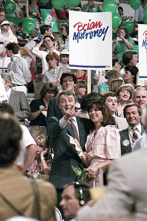 Brian Mulroney - Mulroney on the floor of the 1983 leadership convention. Photograph by Alasdair Roberts.