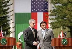 President George W. Bush with President Musharraf at the Aiwan-e-Sadar, Islamabad during March 2006