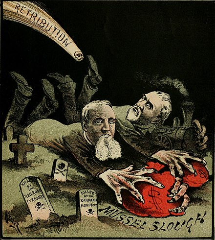 """The Retribution Comet"" – Editorial cartoon published in The Wasp, July 8, 1881, depicting a comet with a skull about to strike railroad tycoons Leland Stanford and Collis Potter Huntington, shown robbing the graves of the Mussel Slough victims"