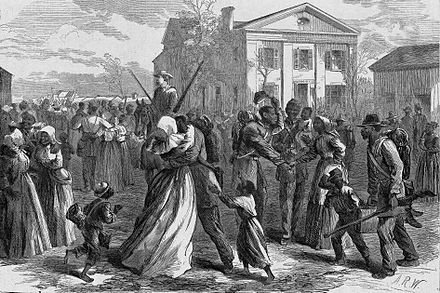 Black volunteer soldiers muster out to their first freedom, Harper's Weekly, 1866 Mustered out, harper's weekly, little rock, AR.jpg