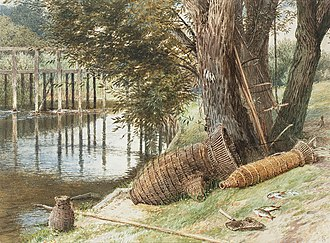 Fish trap - Eel traps in England, 1899, by Myles Birket Foster